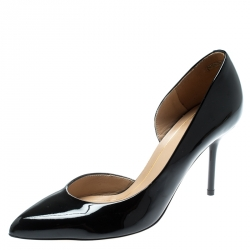 110e8542577 Gucci Black Patent Leather Noah Pointed Toe D Orsay Pumps Size 36