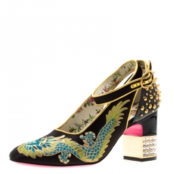 8690bbeb93 Gucci Black Satin And Patent Leather Caspar Dragon Embroidered Spike Detail  Pumps Size 37