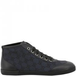 492883f3ec705 Gucci Black/Blue GG Canvas and Leather Lace Up High Top Sneakers Size 37