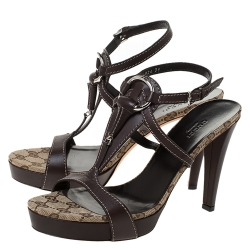 Gucci Brown Leather Horsebit Ankle Strap Sandals Size 39