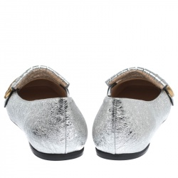 Gucci Silver Textured Leather GG Marmont Fringe Loafers Size 39