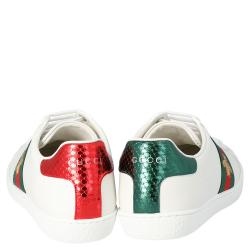 Gucci White Leather Embroidered Bee Ace Low-Top Sneakers Size 36.5