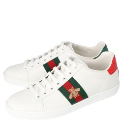 Gucci White Leather Embroidered Bee Ace Low-Top Sneakers Size 37