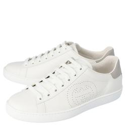 Gucci White Leather Interlocking G Ace Low-Top Sneakers Size 36.5