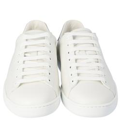 Gucci White Leather Interlocking G Ace Low-Top Sneakers Size 38.5