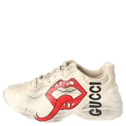 Gucci Beige Leather Mouth Print Rhyton Sneakers Size 38