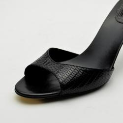 Gucci Black Leather Lizard Embossed Slides Size 40