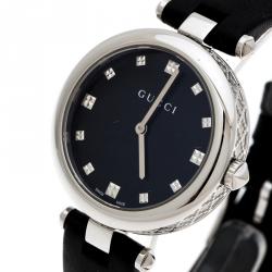 0283d6563ba Gucci Black Stainless Steel Diamantissima 141.4 Women s Wristwatch 32 mm
