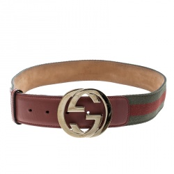 2251b34bccd Buy Gucci Pink Green Fabric and Leather Web Belt 90 CM 163033 at ...