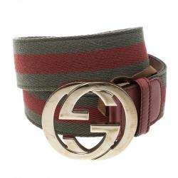 330e12f6f8c Gucci Orange Green Web Fabric Interlocking GG Buckle Belt 85cm