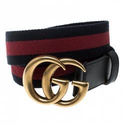 e2eda90df08 Gucci Dark Blue Red Fabric Web Double G Buckle Belt 90cm