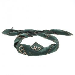 Gucci Green Horsebit Print Silk Square Scarf