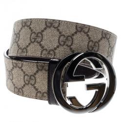 23aa0ac67 Gucci Beige GG Supreme Canvas Interlocking G Buckle Belt 85 CM