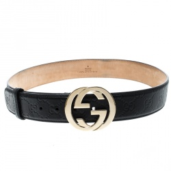 5257daf5392 Gucci Black Guccissima Leather Interlocking GG Buckle Belt 85cm