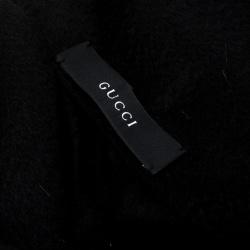 Gucci Black Cashmere Tassel Fringe Edge Muffler