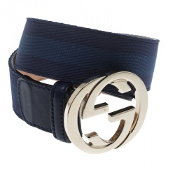 172af362a89 Gucci Blue Leather and Fabric Web Detail Interlocking GG Buckle Belt 85 CM