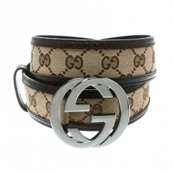 4e01061f7d7 Gucci Beige Brown GG Canvas and Leather Interlocking G Buckle Belt 95 CM