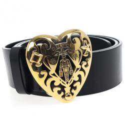 Gucci Black Leather Heart Crest Buckle Belt 85 CM