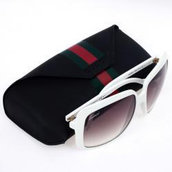 Gucci White GG 3108 Web Detail Square Woman Sunglasses