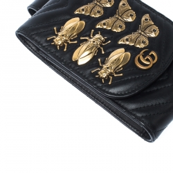 Gucci Black Animal Studs Leather GG Marmont Belt Accessory