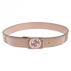 Gucci Beige/Gold Leather and GG Canvas Reversible GG Buckle Belt 85cm
