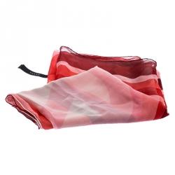 Gucci Red Printed Silk Chiffon Scarf