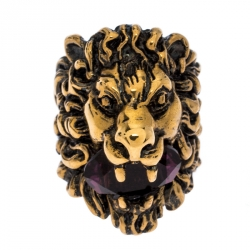Gucci Aged Gold Finish Lion Head with Crystal Ring Size EU 57