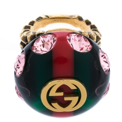 Gucci Logo Resin Crystal Embellished Gold Tone Cocktail Ring Size 50.5