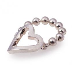 Gucci Silver Heart Chain Ring Size 54
