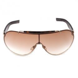 Gucci Brown Aviator Shield Sunglasses