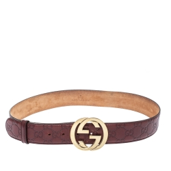 Gucci Burgundy Guccissima Leather Interlocking G Buckle Belt 80CM