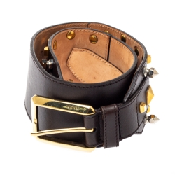 Gucci Dark Brown Leather Multi Studded Belt 70CM