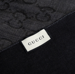 Gucci Grey/Black GG Monogram Silk Wool Stole