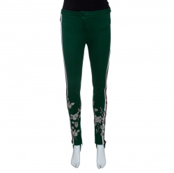 74c668c76ef4 Gucci Green Side Stripe Detail Floral Embroidered Kelly Stirrup Track Pants  S