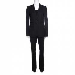 Gucci Charcoal Grey Cotton Tailored Pant Suit S