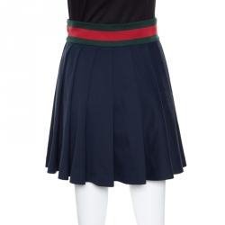 Gucci Navy Blue Knit Web Trim Waist Detail Pleated Skirt XS