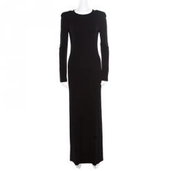 cdc0cd6be Gucci Black Knit Scoop Back Detail Long Sleeve Maxi Dress S