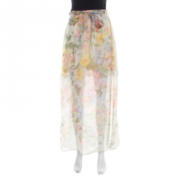 Gucci Floral Printed Sheer Silk Lace Underlay Belted Maxi Skirt S