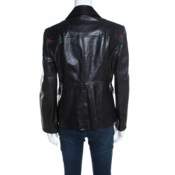 Gucci Black Leather Tailored Two Button Blazer L