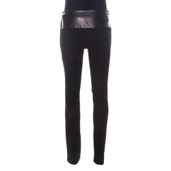 Gucci Black Stretch Leather Waist Trousers S