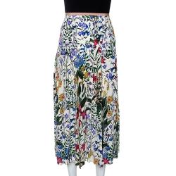 Gucci Multicolor Floral Printed Silk Pleated Midi Skirt M