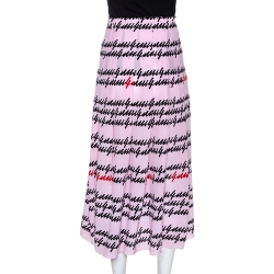 Gucci Pink Silk Cursive Logo Print Pleated Midi Skirt M