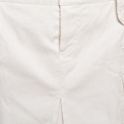 Gucci Ecru Garbadine Navy Badge Embellished Detail Mini Skirt M