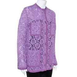 Gucci Purple Floral Lace Button Front Cardigan M