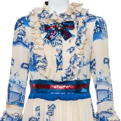 Gucci Cream & Navy Blue Porcelain Garden Printed Silk Ruffled Maxi Dress XXL
