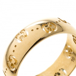 Gucci Icon 18k Yellow Gold Band Ring Size 56