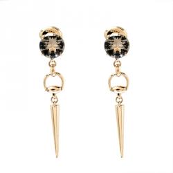 3f4e3d9487a Gucci Horsebit Smoky Quartz 18k Yellow Gold Spike Drop Earrings