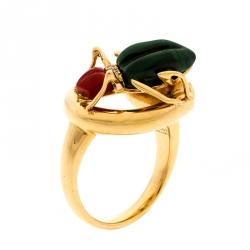 7225ca0af Gucci Horsebit Beetle Malachite Coral & Diamond 18k Yellow Gold Cocktail Ring  Size 52.5