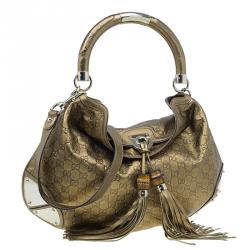 Gucci Metallic Gold Guccissima Leather Large Babouska Indy Top Handle Bag