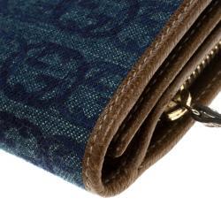Gucci Blue/Brown Denim GG D Ring Continental Wallet
